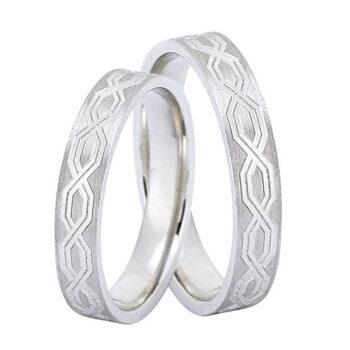 Βέρες γάμου λευκόχρυσο με σχέδιο - Online monopetro.com.gr