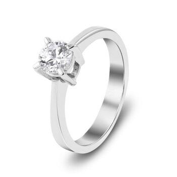 Μονόπετρο λευκόχρυσο με διαμάντι 18 καρατίων