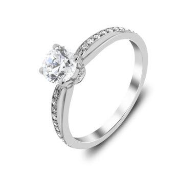 Μονόπετρο χειροποίητο με διαμάντια