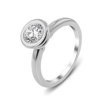 Μονόπετρο διαμάντι λευκόχρυσο 18 καρατίων