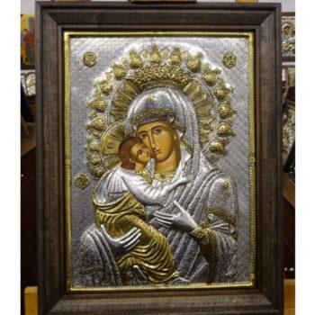 Εικόνα Ασημένια Παναγία Γλυκοφιλούσα βυζαντινή