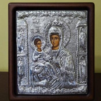 Ασημένια Εικόνα Παναγία Τριχερούσα