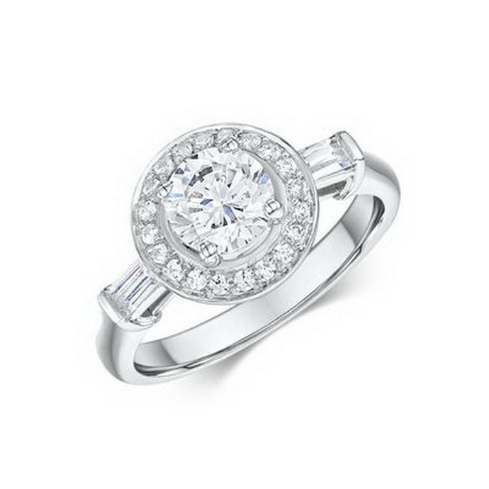 Μονόπετρο δαχτυλίδι με μπαγκέτες διαμάντια