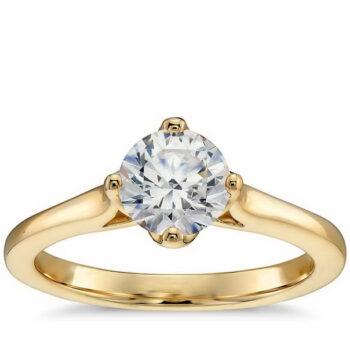 Μονόπετρο δαχτυλίδι χρυσό