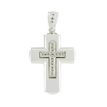 Λευκόχρυσος σταυρός με ζιργκόν