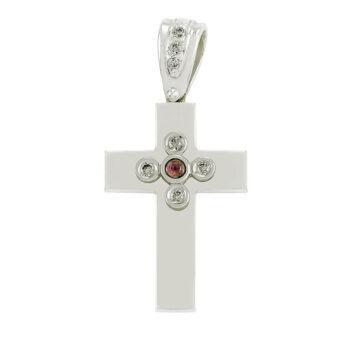 Λευκόχρυσος σταυρός με αλυσίδα
