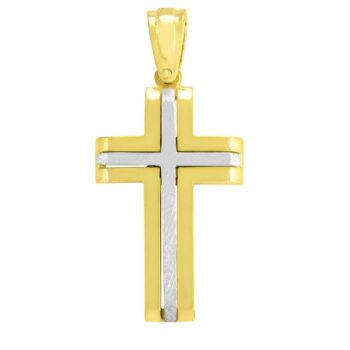 Δίχρωμος σταυρός βάπτισης μασίφ για αγόρι