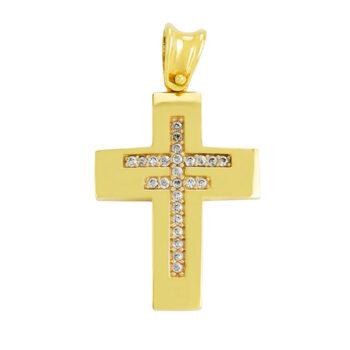 Σταυρός βάπτισης με ζιργκόν σε χρυσό