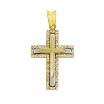 Δίχρωμος σταυρός βάπτισης με ζιργκόν