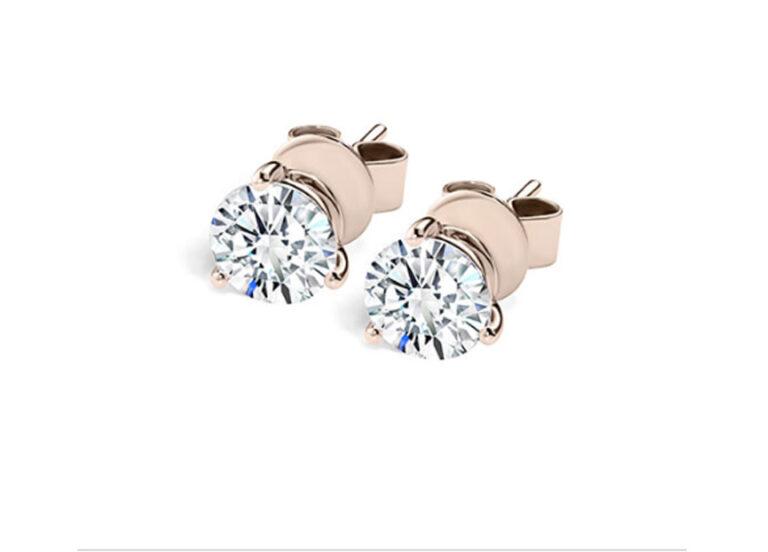 Σκουλαρίκια μπριγιάν ροζ χρυσό