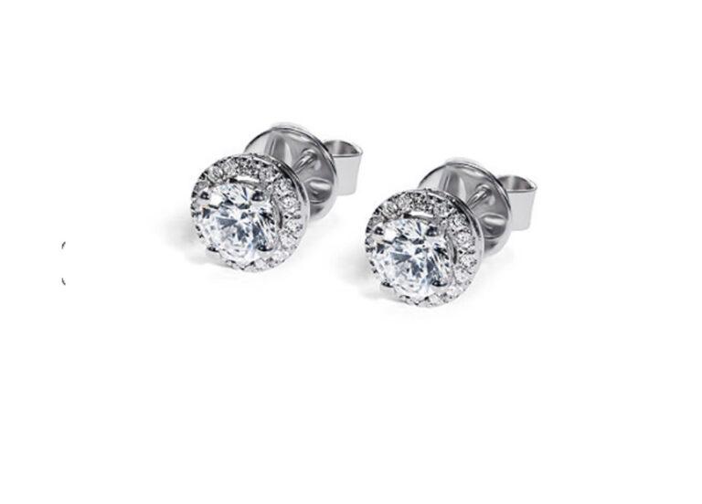 Διαμαντένια σκουλαρίκια λευκόχρυσα
