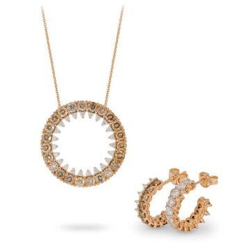 Κολιέ με διαμάντια ροζ χρυσό