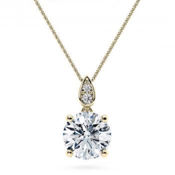 Χρυσό μονόπετρο κολιέ με διαμάντι