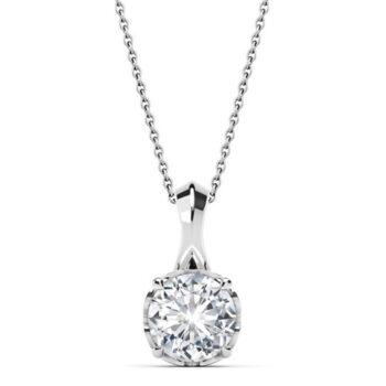 Λευκόχρυσο κολιέ 18Κ με διαμάντι