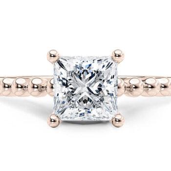 Μονόπετρο δαχτυλίδι ροζ χρυσό Princess