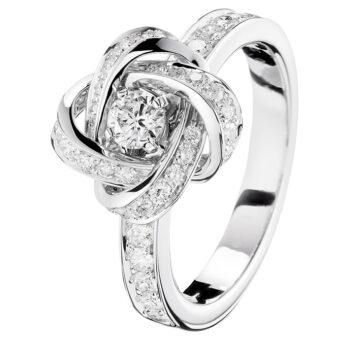 Λευκόχρυσο μονόπετρο δαχτυλίδι τριαντάφυλλο