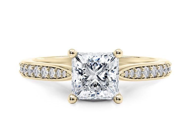 Κίτρινο χρυσό μονόπετρο δαχτυλίδι με διαμάντια