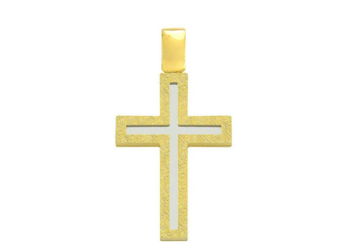 Σταυρός βάπτισης δίχρωμος για αγόρι
