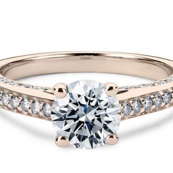 Μονόπετρα ροζ χρυσό με διαμάντια