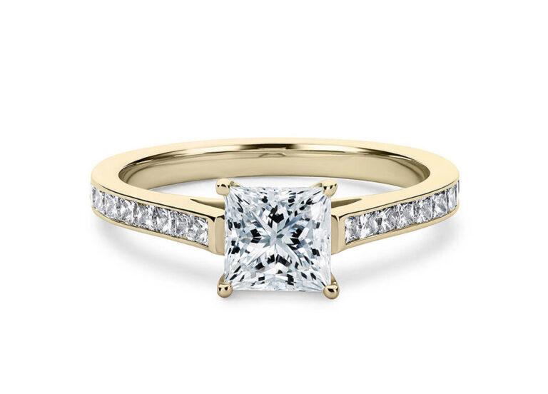 Κίτρινο χρυσό μονόπετρο δαχτυλίδι princess