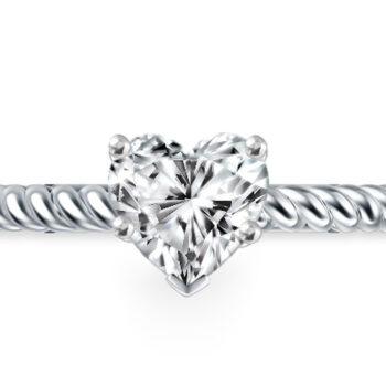 Λευκόχρυσο μονόπετρο με διαμάντι σχήμα καρδιάς - monopetro.com.gr
