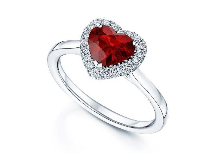 Δαχτυλίδι ροζέτα ρουμπίνι καρδιά με μπριγιάν