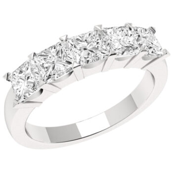 Μισόβερο δαχτυλίδι πεντάπετρο με μπριγιάν