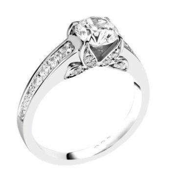 Λευκόχρυσο μονόπετρο δαχτυλίδι με διαμάντια