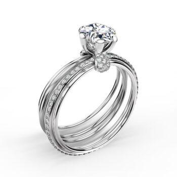 Λευκόχρυσο μονόπετρο δαχτυλίδι μπριγιάν 18Κ