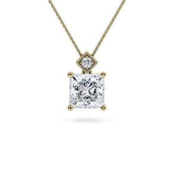 Κίτρινο χρυσό μονόπετρο κολιέ princess - Online monopetro.com.gr