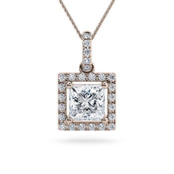 Ροζ χρυσό μονόπετρο κολιέ princess cut - Online monopetro.com.gr
