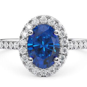 Δαχτυλίδι οβάλ με ζαφείρι και διαμάντια