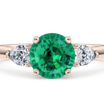 Δαχτυλίδι ροζ χρυσό με σμαράγδι και διαμάντια